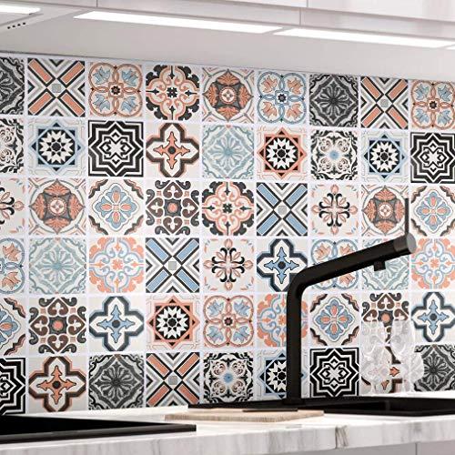 KINLO Papel Pintado Pared Adhesivo con la Imagen Mosaico Retro Colores, Pegatina de PVC para Decorar Azulejos Muebles Cocina Baño, a Prueba de Aceite de Agua de Moho, 0.61*5M per Rollo
