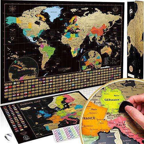 Mapa Mundi Rascar (61 X 43 cm) + Mapa Europa Rascar (46 X 33 cm). El paquete de regalo incluye una herramienta para rascar con precisión y pegatinas de recuerdo de viajes, oro/negro
